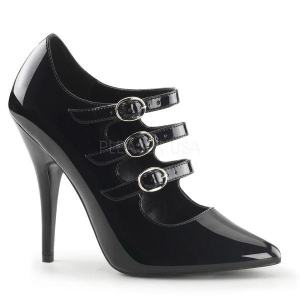 Klassische schwarze Lack High Heels mit Riemchen SEDUCE-453